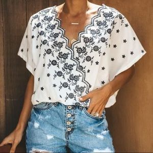 Sorrento Embroidered Cotton Drape Top